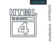 modern thin line icon of html 4.