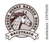 Stock vector horse racetrack badges graver badges vector illustration engraving horse racetrack illustration 374793250