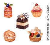 set of hand drawn cakes with... | Shutterstock . vector #374793304