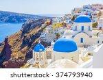 greece santorini church domes | Shutterstock . vector #374793940