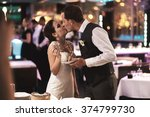 stylish happy kissing bride and ...   Shutterstock . vector #374799730