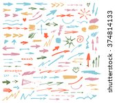 vector set of hand drawn arrows. | Shutterstock .eps vector #374814133