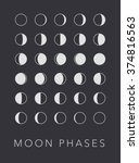 full cycle moon phases vector... | Shutterstock .eps vector #374816563