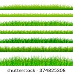 green grass borders set vector | Shutterstock .eps vector #374825308