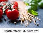 pasta ingredients. cherry... | Shutterstock . vector #374825494