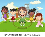 children playing jump rope  eat ... | Shutterstock .eps vector #374842138