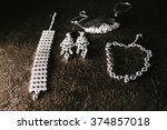 bride's necklace and earrings... | Shutterstock . vector #374857018