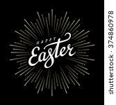 happy easter typographical...   Shutterstock .eps vector #374860978