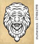 lion head door knocker. vintage ...   Shutterstock .eps vector #374861998