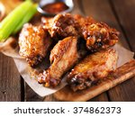 Barbecue chicken wings close up ...