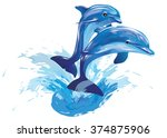 vector image of dolphins... | Shutterstock .eps vector #374875906