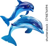 Vector Image Of Dolphins...