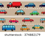 stream of cars on the road.... | Shutterstock . vector #374882179