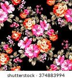 Stock vector seamless vintage rose flower wallpaper pattern 374883994