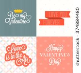 vector happy valentine's day... | Shutterstock .eps vector #374884480