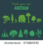 vector different trees... | Shutterstock .eps vector #374884540