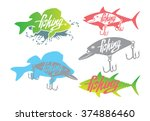 the figure shows a  fishing... | Shutterstock .eps vector #374886460