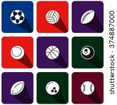 icon set forms ball game for... | Shutterstock .eps vector #374887000