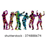 dancing people silhouettes. | Shutterstock .eps vector #374888674