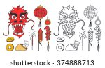 doodle icons. chinese new year. ... | Shutterstock .eps vector #374888713
