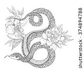 snakes and flowers. tattoo art  ... | Shutterstock .eps vector #374894788