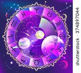 astrological circle in space | Shutterstock . vector #374897044