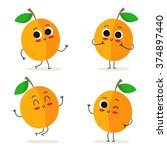 apricot. cute fruit vector... | Shutterstock .eps vector #374897440