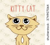 cute happy cat  vector... | Shutterstock .eps vector #374907064
