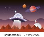 vector illustration of a cosmic ... | Shutterstock .eps vector #374913928