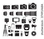 camera  photography mono icons... | Shutterstock .eps vector #374914684
