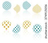 3d Vector Halftone Spheres. Se...