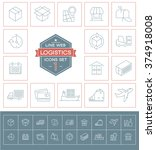 set logistics icons. simple... | Shutterstock .eps vector #374918008