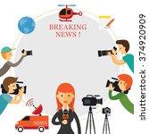 reporter  photographer ... | Shutterstock .eps vector #374920909
