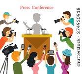 press conference  journalist... | Shutterstock .eps vector #374920918
