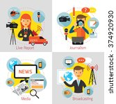 news and journalism concept set ... | Shutterstock .eps vector #374920930