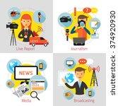 news and journalism concept set ... | Shutterstock .eps vector #374920930