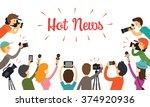 group of reporter  journalist... | Shutterstock .eps vector #374920936