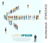 crowded people arrow symbol.... | Shutterstock .eps vector #374921413