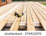 a new wooden  timber deck being ...