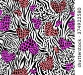 color hearts over zebra leo... | Shutterstock .eps vector #374922580