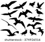 Set Of Birds Silhouettes 15 In...