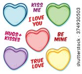 valentine hearts and word... | Shutterstock .eps vector #374930503