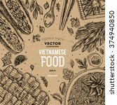 vietnamese food. linear graphic.... | Shutterstock .eps vector #374940850