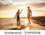 happy young romantic couple in...   Shutterstock . vector #374955358
