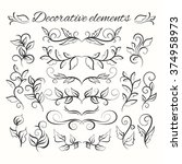 hand drawn dividers set. floral ... | Shutterstock .eps vector #374958973