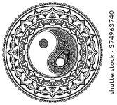 vector henna tatoo mandala. yin ...   Shutterstock .eps vector #374963740
