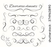 hand drawn dividers set.... | Shutterstock .eps vector #374963890