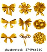 set of gold gift bows with... | Shutterstock .eps vector #374966560