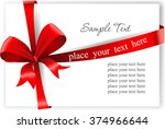 greeting card with a red ribbon.... | Shutterstock .eps vector #374966644