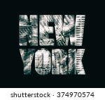 monochrome collage of fragments ... | Shutterstock . vector #374970574